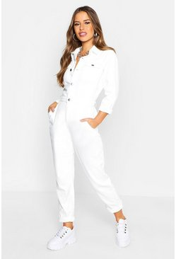 Womens Ecru Petite Denim Jumpsuit