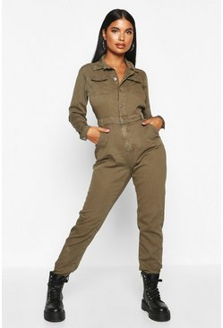 Womens Khaki Petite Denim Jumpsuit