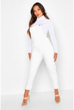 Womens White Petite Denim Dungarees