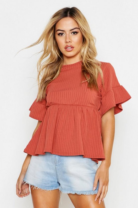 Womens Terracotta Petite Ribbed Smock Top