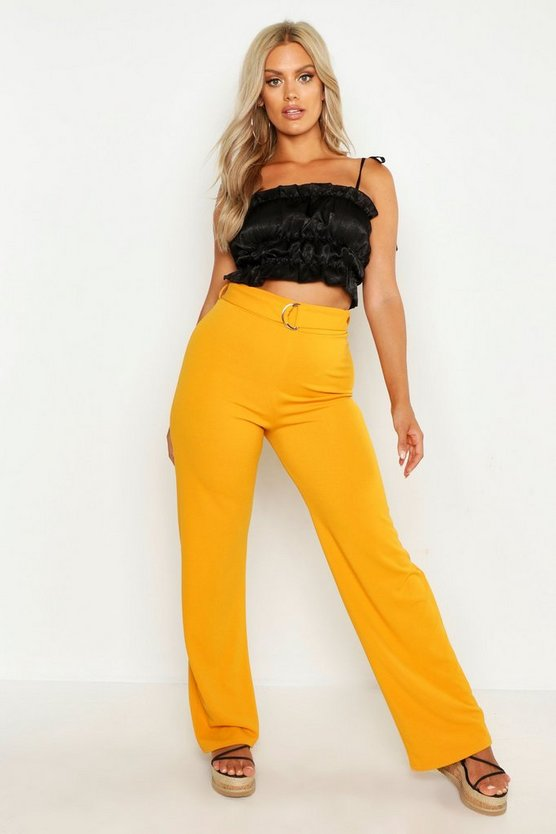 Womens Mustard Plus High Waist D Ring Belted Wide Leg Trouser