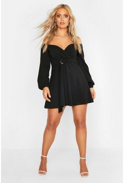Womens Black Plus Crepe Off The Shoulder Wrap Skater Dress