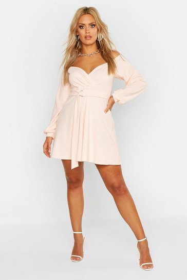 Blush Plus Crepe Off The Shoulder Wrap Skater Dress