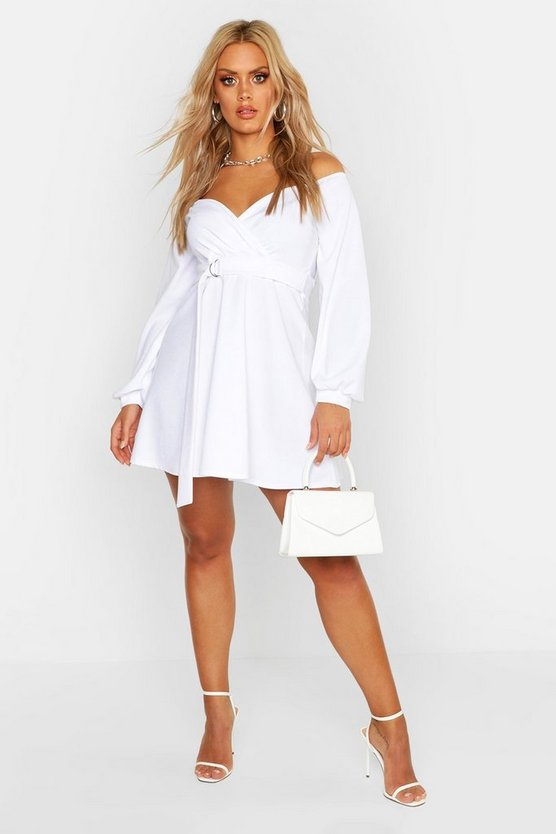 Womens White Plus Crepe Off The Shoulder Wrap Skater Dress