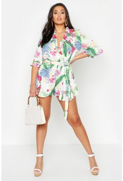 Womens White Plus Tropical Print Ruffle Tie Playsuit