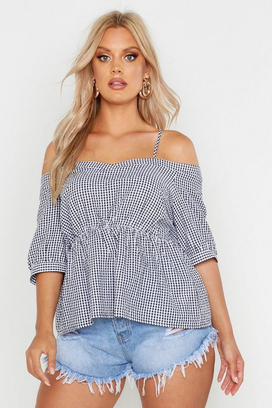 Womens Black Plus Gingham Check Cold Shoulder Top