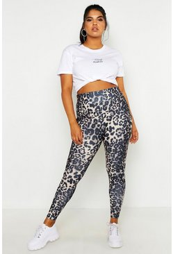 Womens Brown Plus Leopard Sculpt High Waist Legging