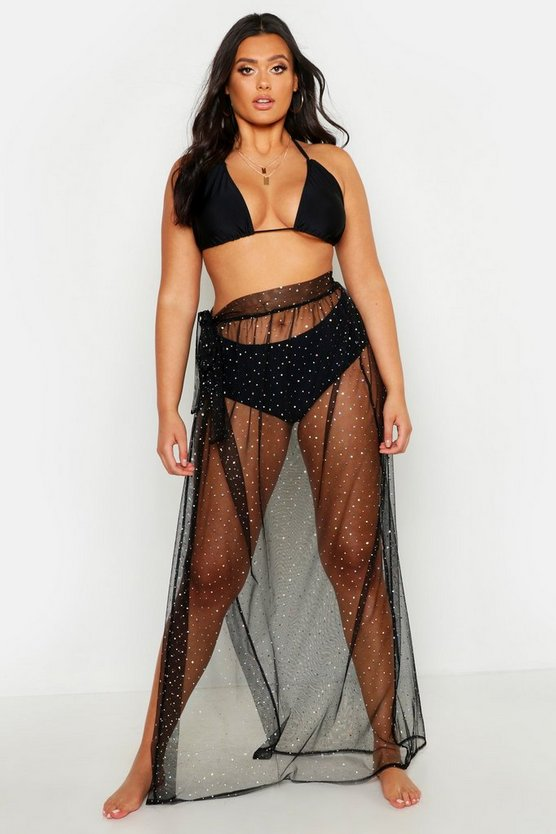 Womens Black Plus Glitter Mesh Beach Maxi Skirt