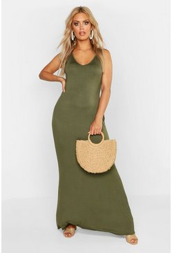 Womens Khaki Plus V Neck Long Basic Maxi Dress