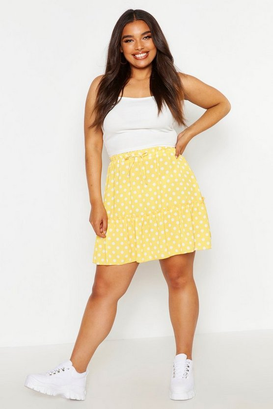Mustard Plus Spotty Ruffle Skirt
