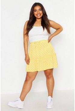 Womens Mustard Plus Spotty Ruffle Skirt