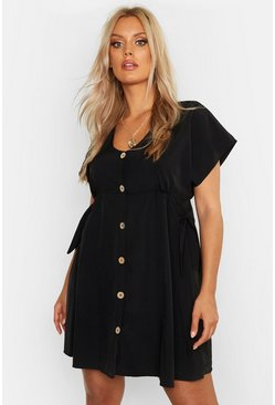 Womens Black Plus Woven Button Through Smock Dress