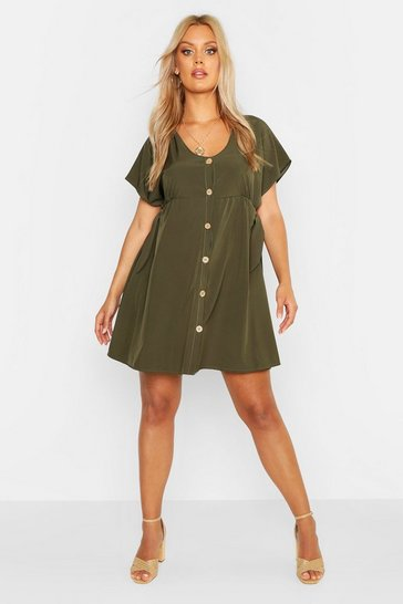 Womens Khaki Plus Woven Button Through Smock Dress