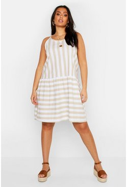 Womens Stone Plus Stripe Linen Smock Dress