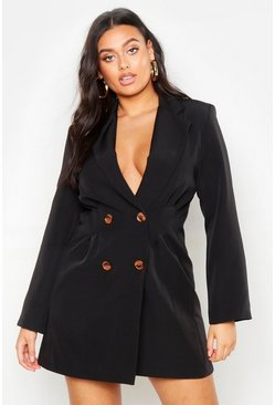 Womens Black Plus Utility Double Breasted Blazer Dress