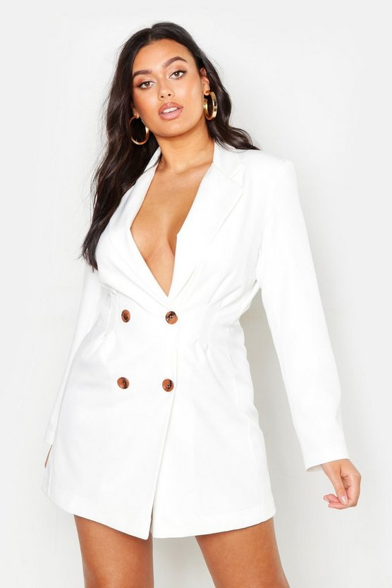 Womens White Plus Utility Double Breasted Blazer Dress