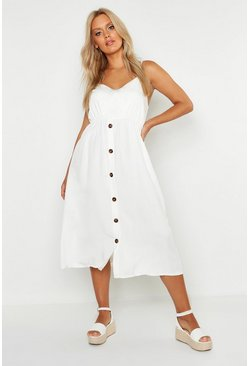 White Plus Horn Button Strappy Midi Dress