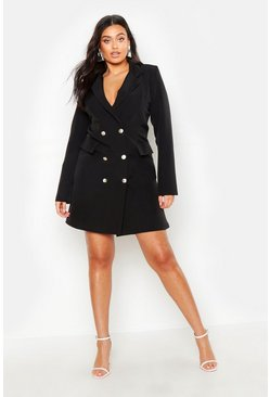 Womens Black Plus Double Breasted Blazer Dress