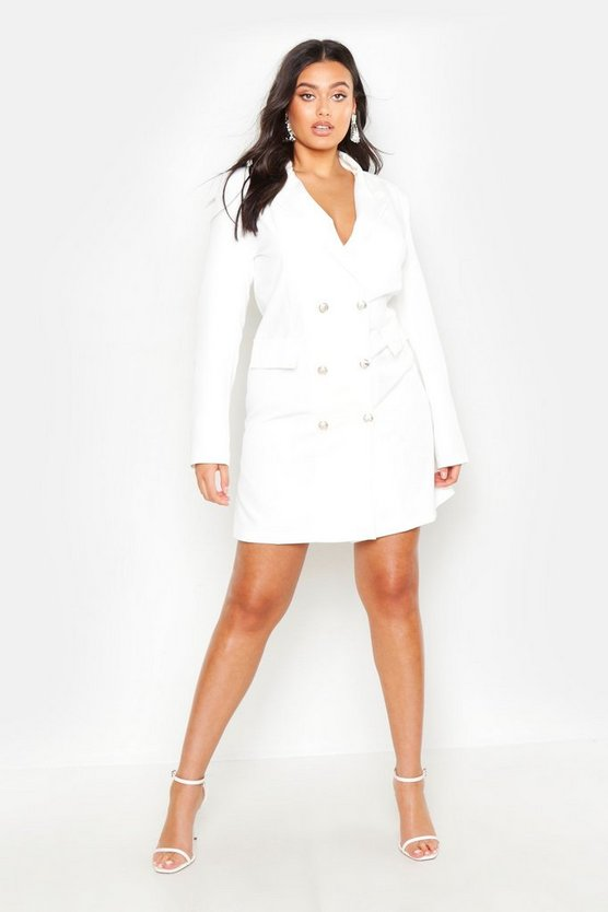 Womens White Plus Double Breasted Blazer Dress