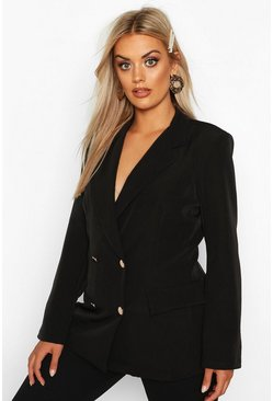 Womens Black Plus Double Breasted Military Blazer