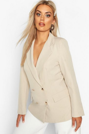 Stone Plus Double Breasted Military Blazer