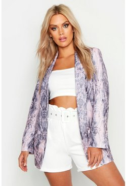 Womens Pink Plus Snake Skin Tailored Blazer