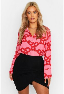 Womens Pink Plus Woven Chain Print Shirt
