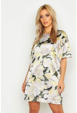 Dam Yellow Plus Satin Floral Shift Dress