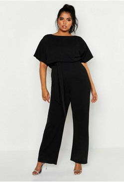 Womens Black Plus Double Layer Jumpsuit