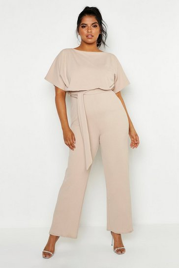 Womens Stone Plus Double Layer Jumpsuit