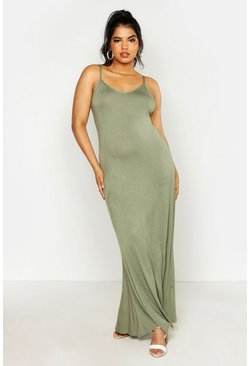 Womens Khaki Plus Basic Swing Maxi Dress