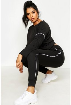 Womens Black Plus Raw Edge Cropped Sweat Piping Detail Jogger Set