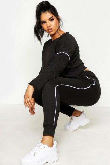 7020d30c Womens Black Plus Raw Edge Cropped Sweat Piping Detail Jogger Set
