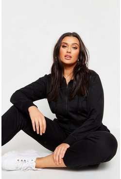Womens Black Plus Zip Through Hoody & Jogger Set