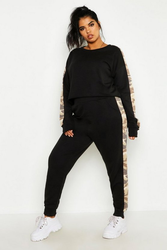 Womens Black Plus Camo Side Stripe Lounge Set