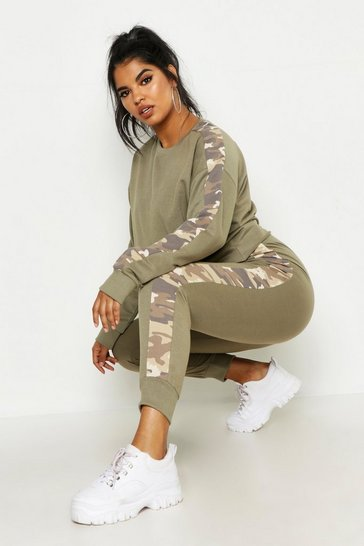 Khaki Plus Camo Side Stripe Lounge Set