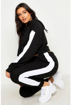 Womens Black Plus Side Stripe Hooded Lounge Set