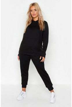 Womens Black Plus Cargo Pocket Hoody & Jogger Lounge Set