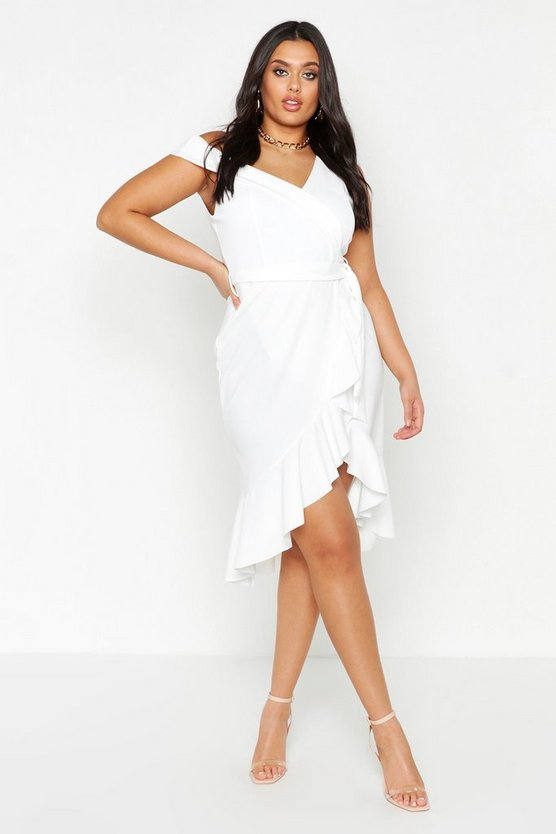 Plus Asymmetric Belted Ruffle Hem Midi Dress by Boohoo