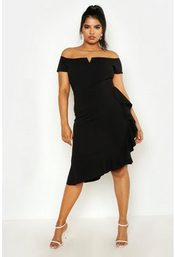 Womens Black Plus Bardot V Bar Ruffle Side Midi Dress