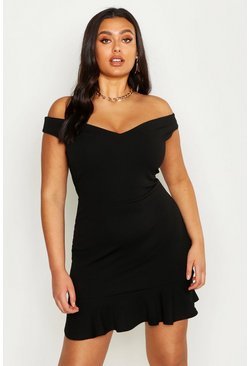 Womens Black Plus Bardot V Neck Frill Hem Mini Dress