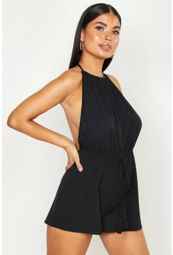Womens Black Petite Bobble Trim Halterneck Backless Playsuit