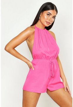 Womens Hot pink Petite Bobble Trim Halterneck Backless Playsuit