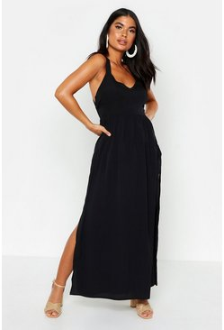 Womens Black Petite Cross Back Split Hem Maxi Dress