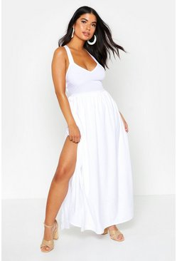 Womens White Petite Cross Back Split Hem Maxi Dress