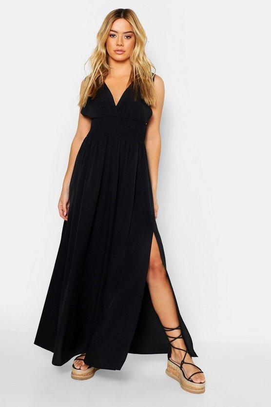 Petite Plunge Shirred Waist Maxi Dress