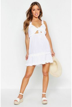 Womens White Petite Frill Detail Cheesecloth Tie Front Dress