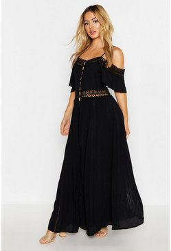 Womens Black Petite Lace Bardot Cheesecloth Button Maxi Dress