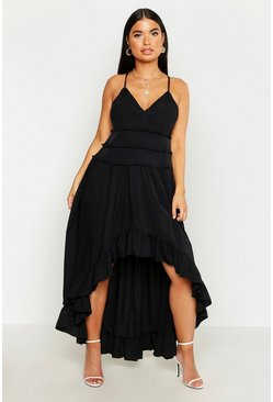Womens Black Petite Tiered Ruffle Dip Back Maxi Dress