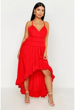 Womens Red Petite Tiered Ruffle Dip Back Maxi Dress